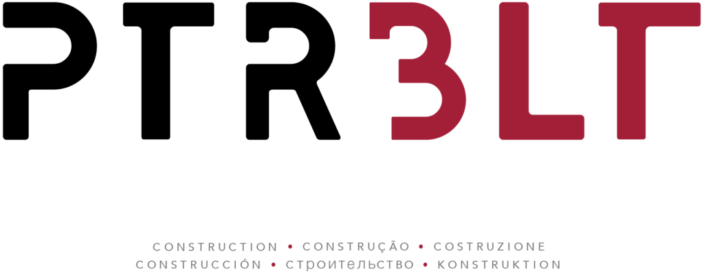 "PtrBlt Miami logo in black and maroon, with the word ""construction"" below in several languages"