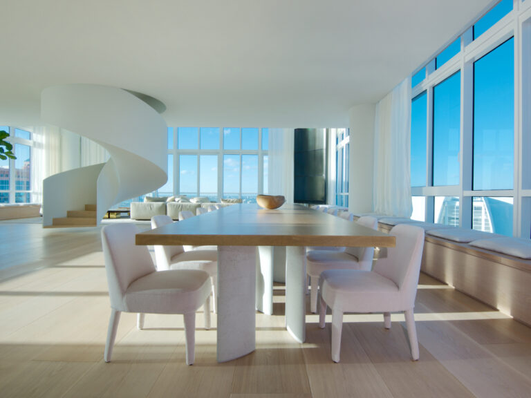 Continuum PH Miami residence open dining room with ocean view
