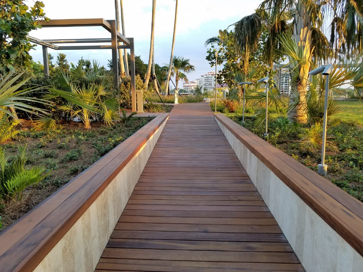 PtrBlt Miami Apogee Pool Deck straight section with palm trees and ocean in the distance