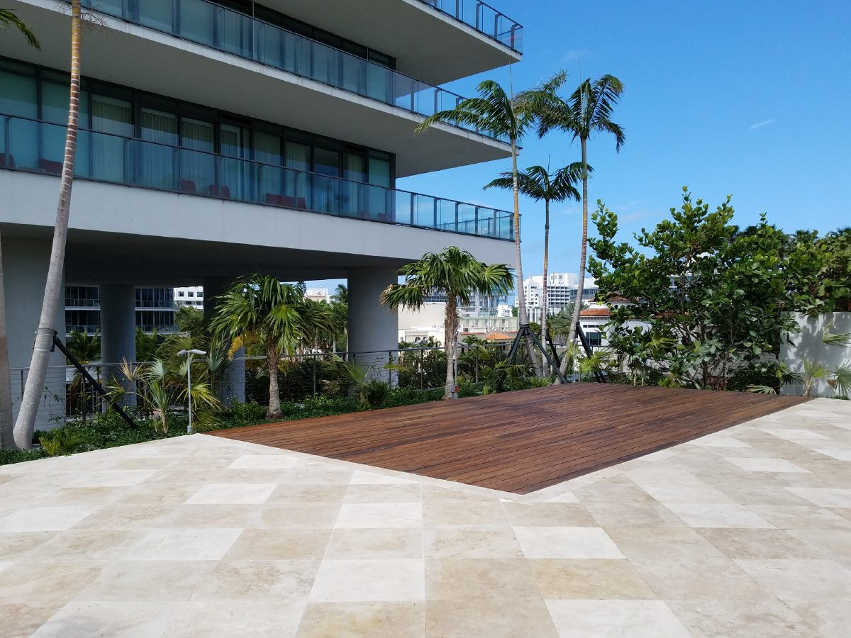 PtrBlt Miami Apogee hotel view with pool deck and tile paver segments