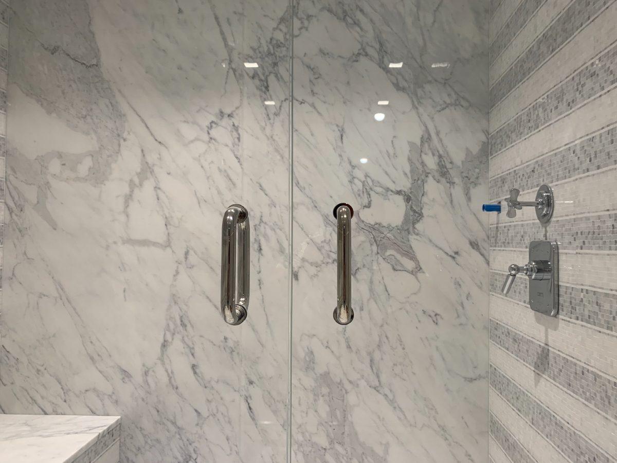 Blue Diamond Residence marble shower door detail