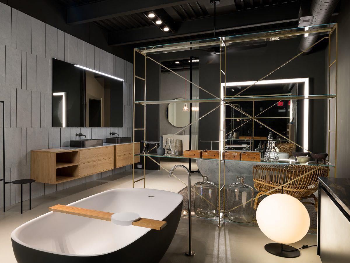 Boffi Showroom Miami bathroom with vanity and tub