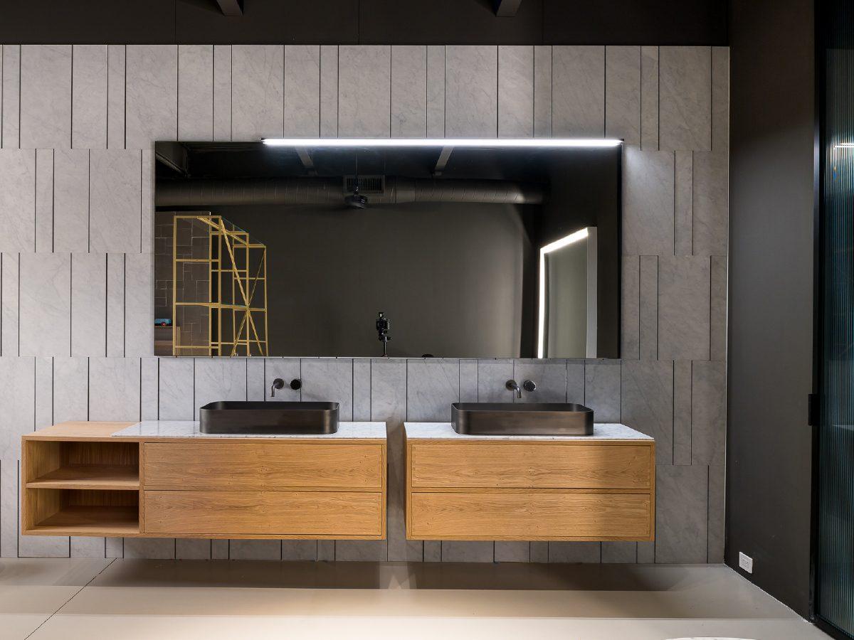 Boffi Showroom Miami double sinks in bathroom