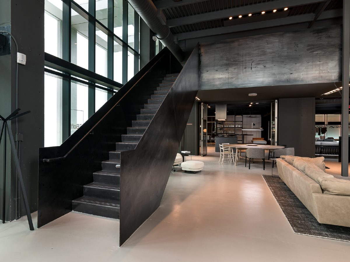 Boffi Showroom Miami steel staircase to living area