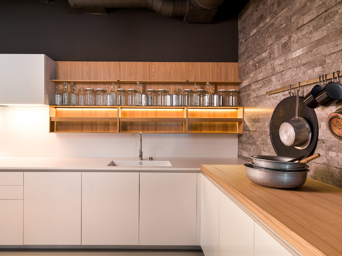 Boffi Showroom Miami kitchen counters and glass jar collection