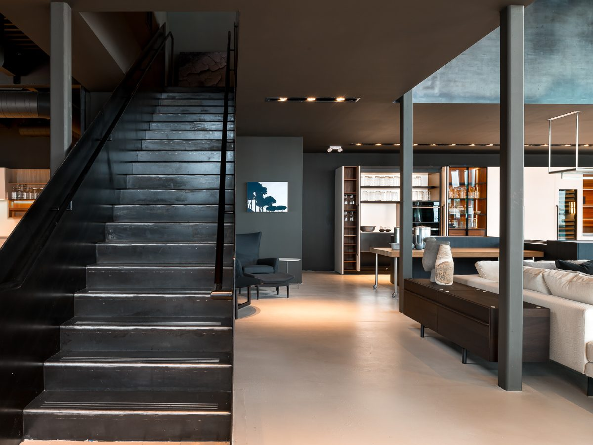 Boffi Showroom Miami stairs to lounge area