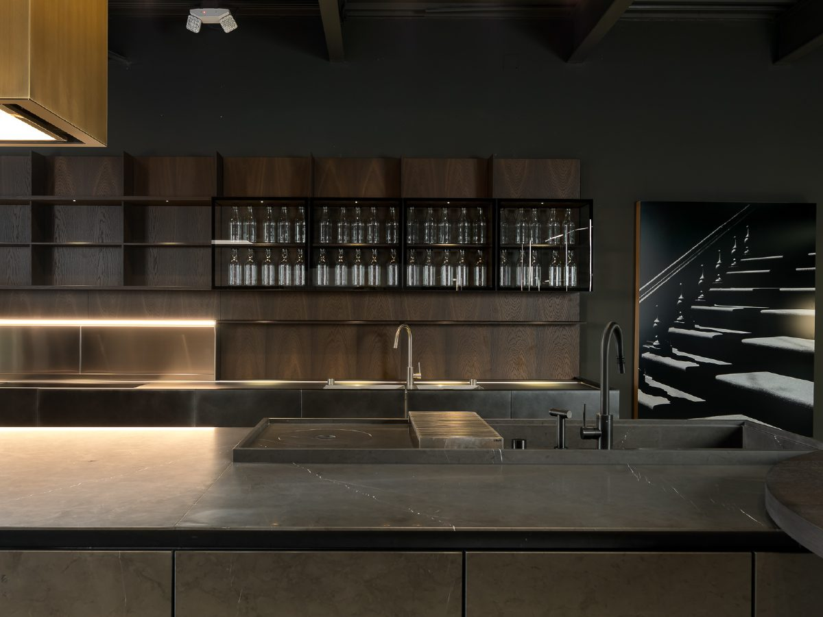 Boffi Showroom Miami kitchen and back bar area