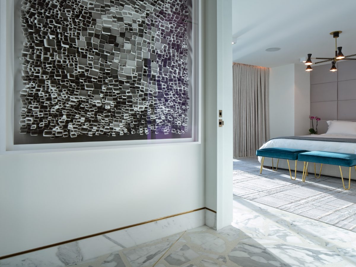 Carillon Miami residence hall art leading into bedroom