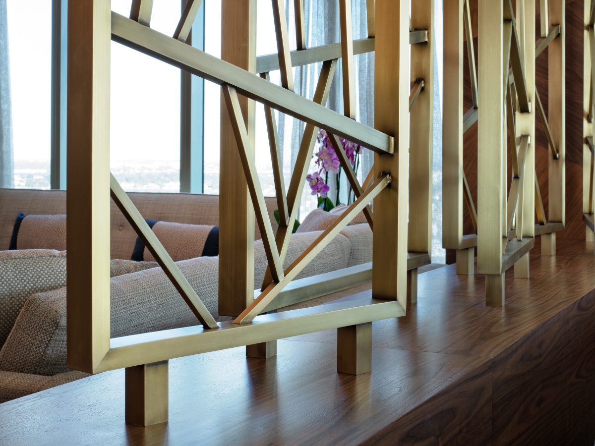 Carillon Miami residence living room brass sculptural detail