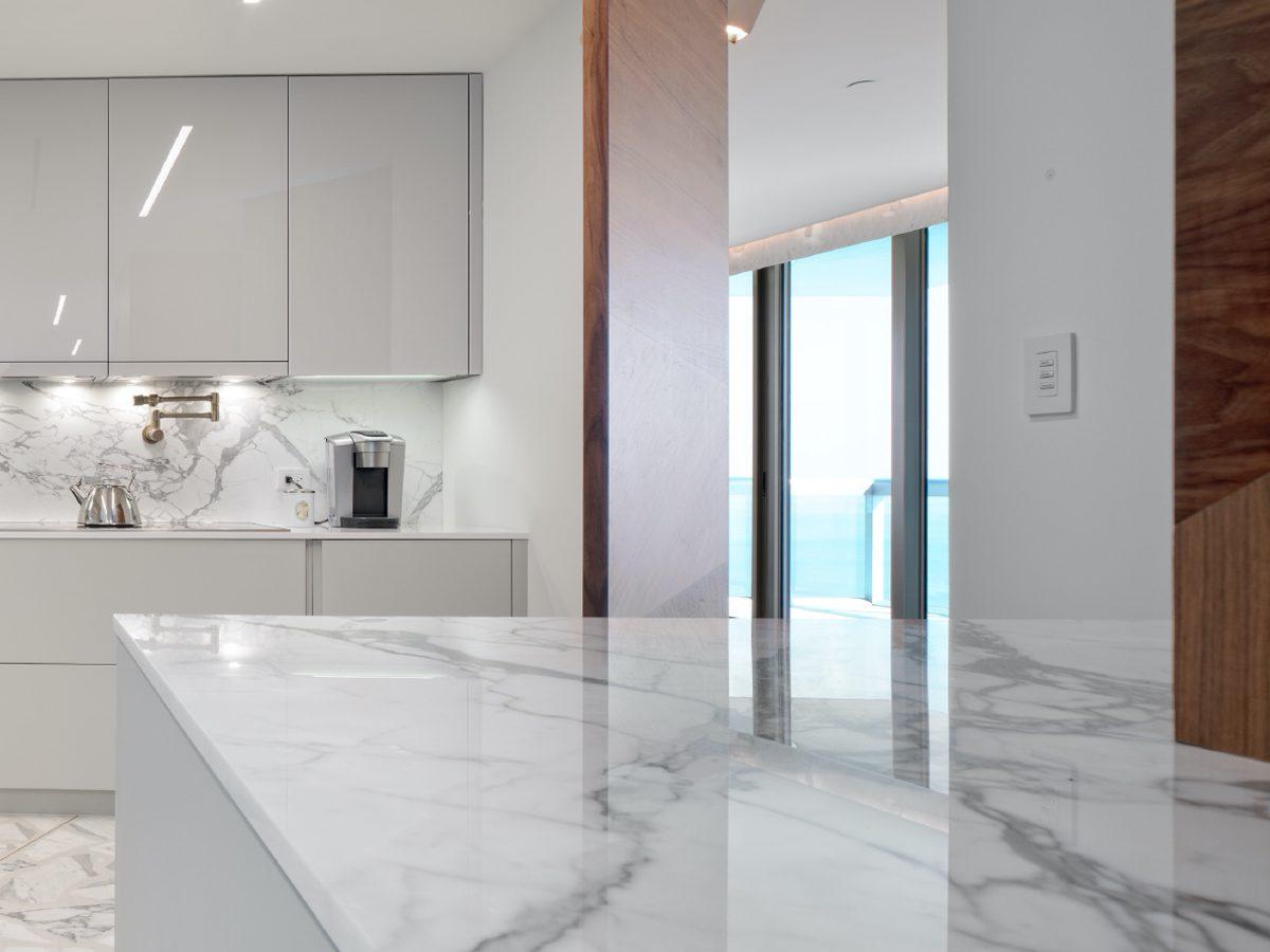 Carillon Miami residence kitchen marble counter detail