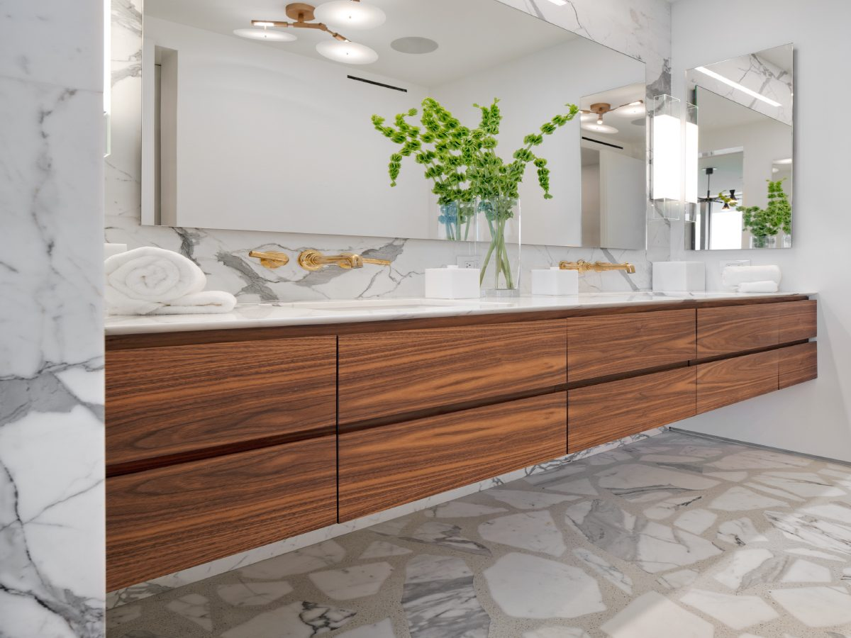 Carillon Miami residence wood and marble vanity