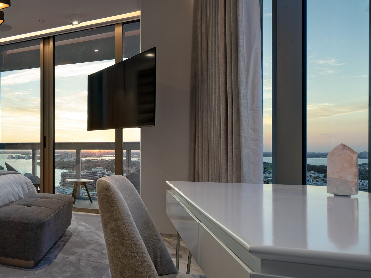 Carillon Miami residence view of the ocean from a bedroom