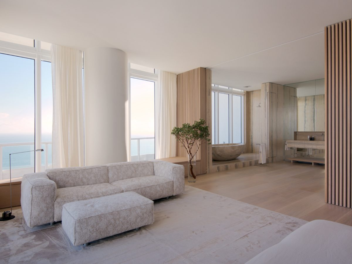 Continuum PH Miami residence bedroom couch with ocean view
