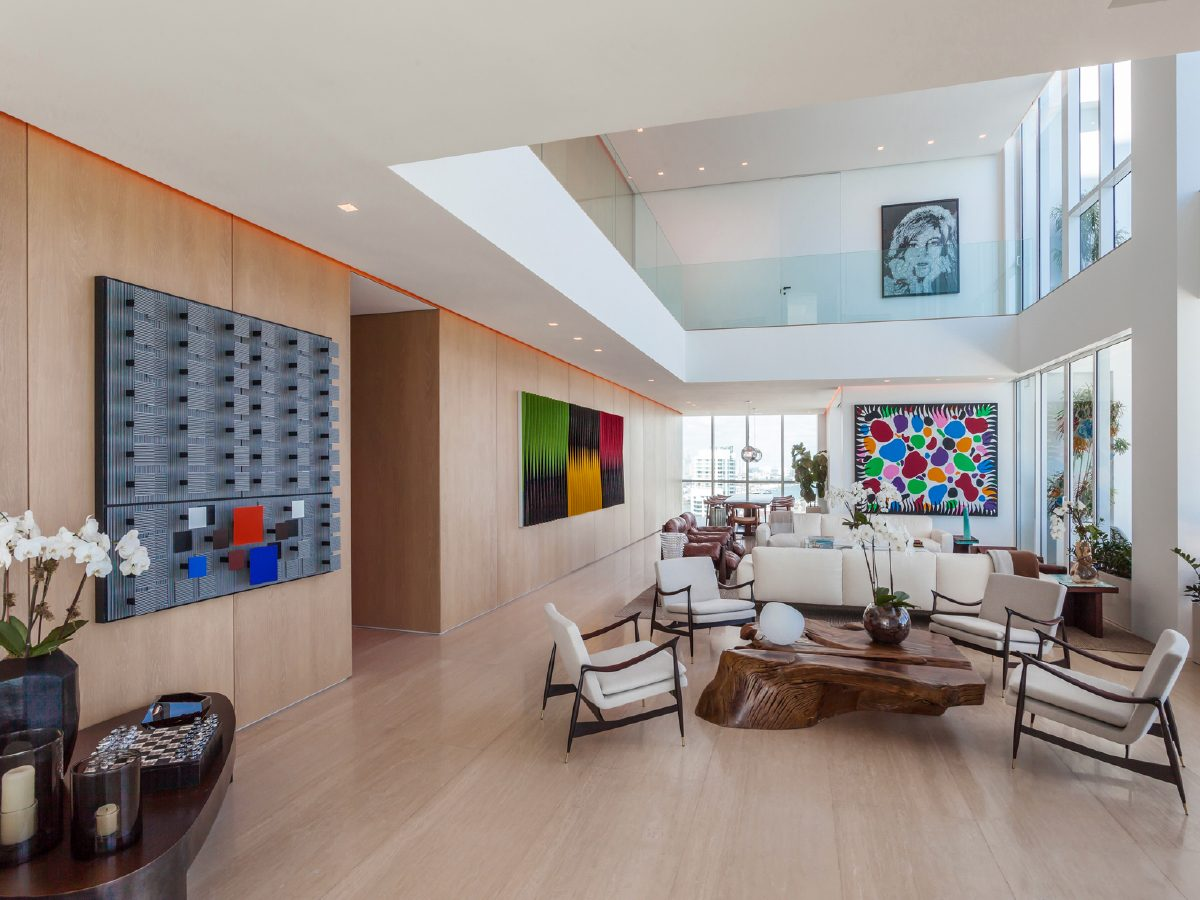 Continuum North Miami Private Residence living room and art collection