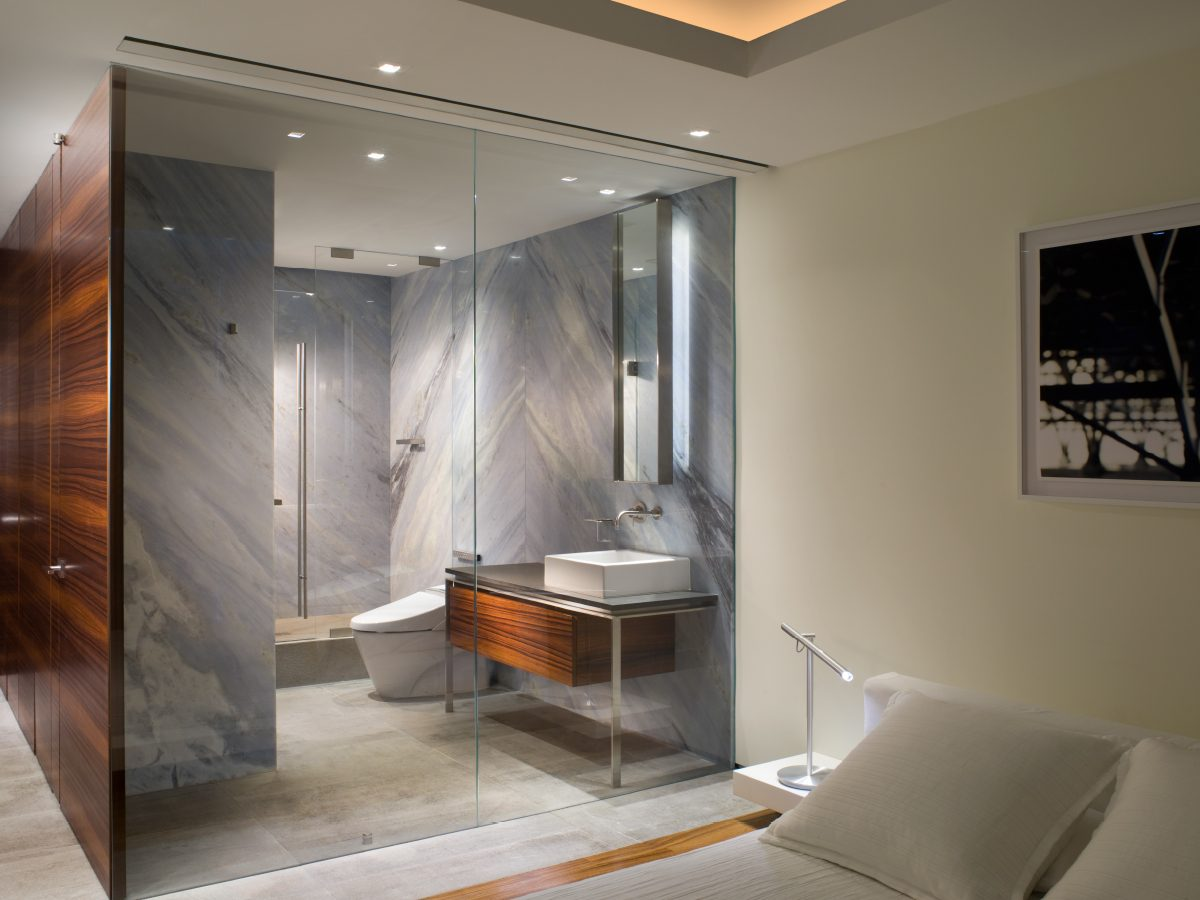 Continuum Miami residence marble and glass bathroom