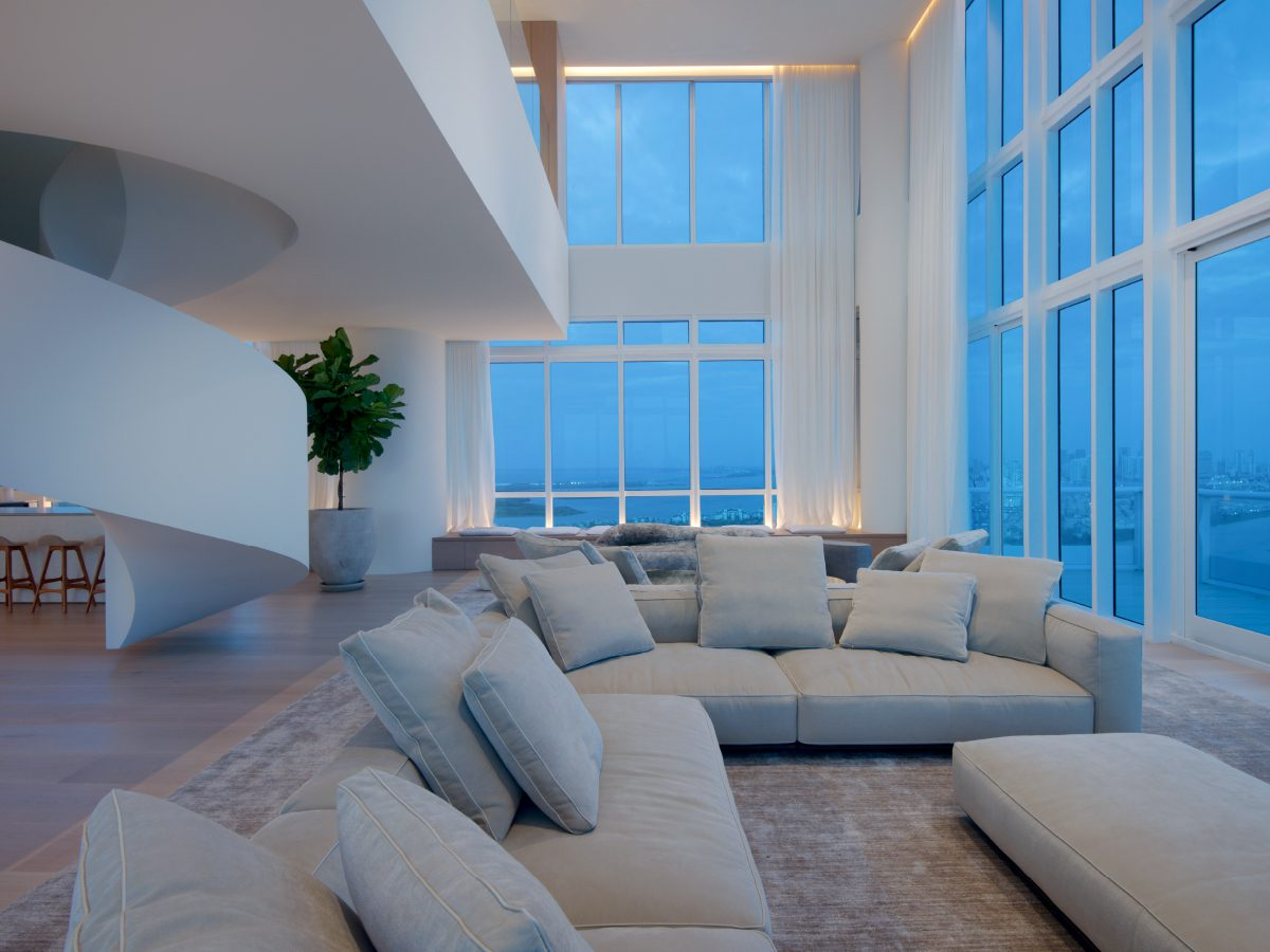 PtrBlt Miami Continuum South living room at dusk