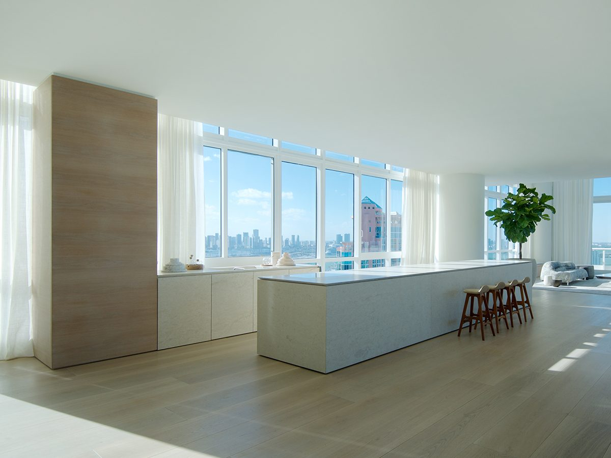 PtrBlt Continuum kitchen bar from the side with view of Miami