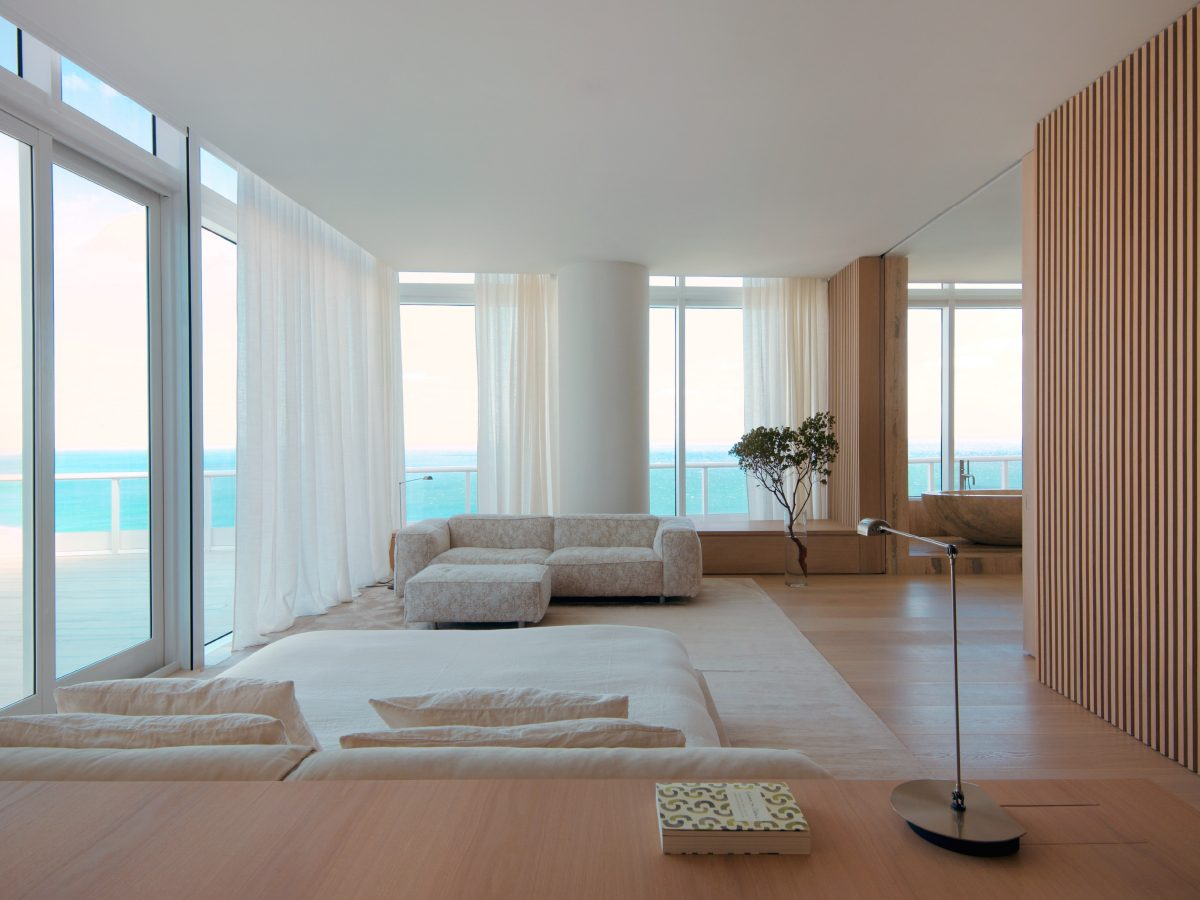 Continuum PH Miami residence living room with ocean view