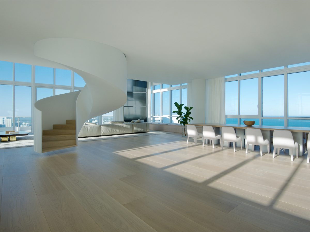 PtrBlit Miami Continuum South open floor plan with spiral staircase and kitchen table