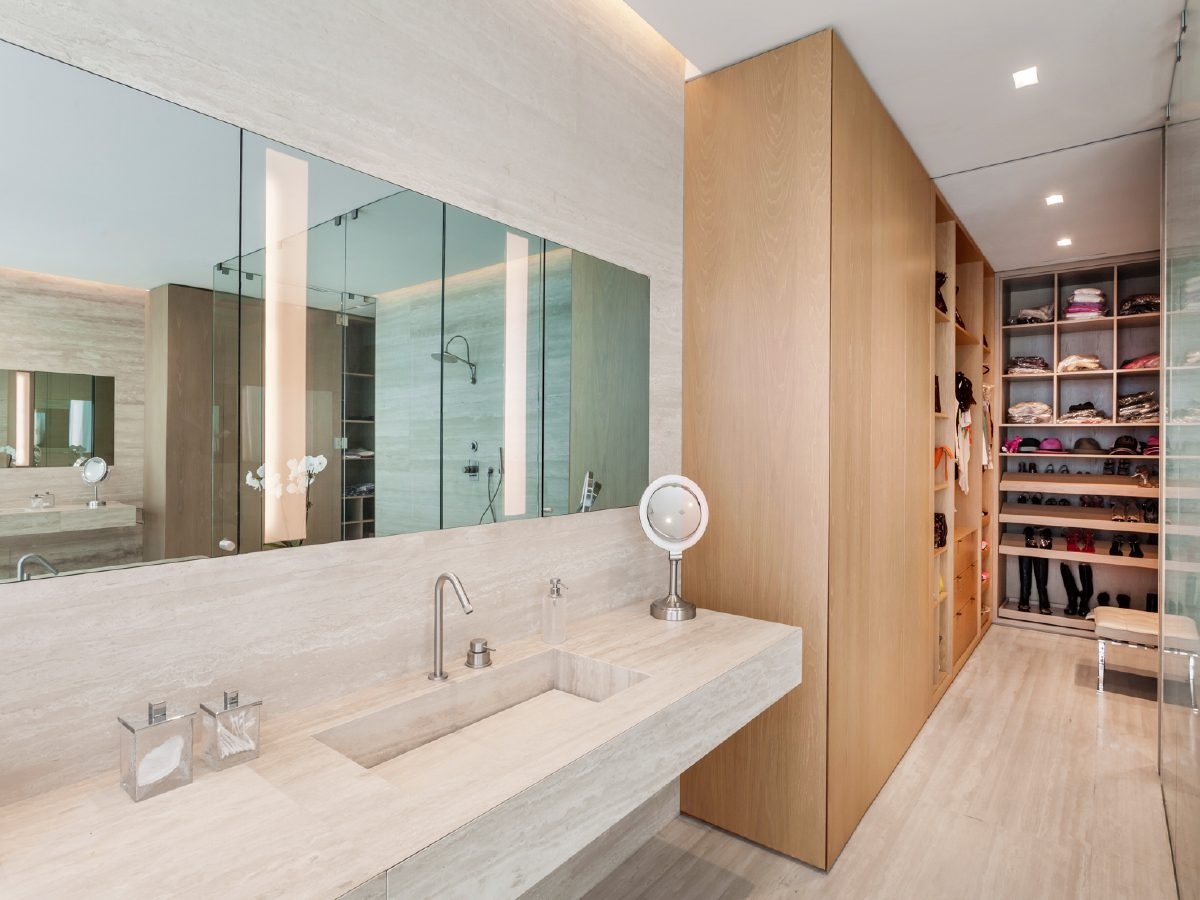 Continuum Miami Private PH Residence marble vanity and walk-in closet