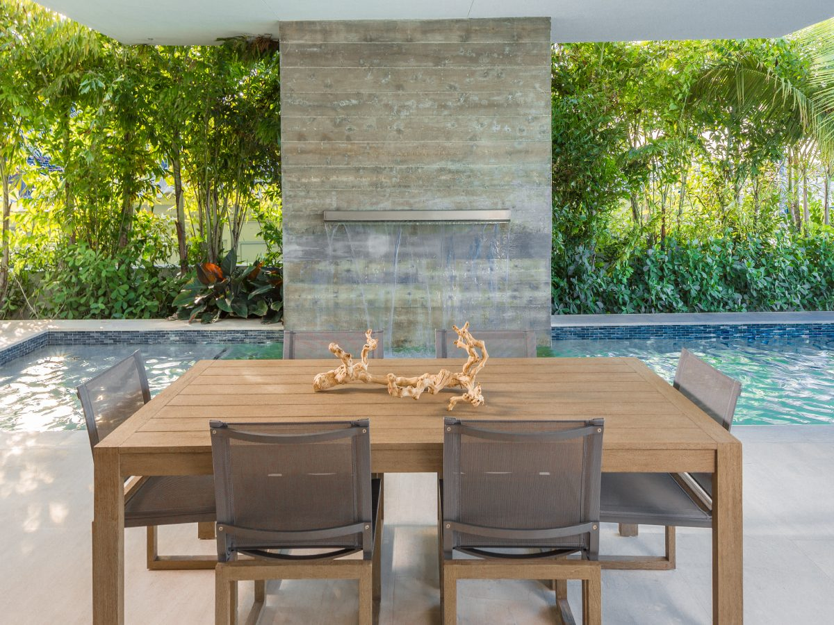 Hibiscus Island Miami residence outdoor modern fountain and patio