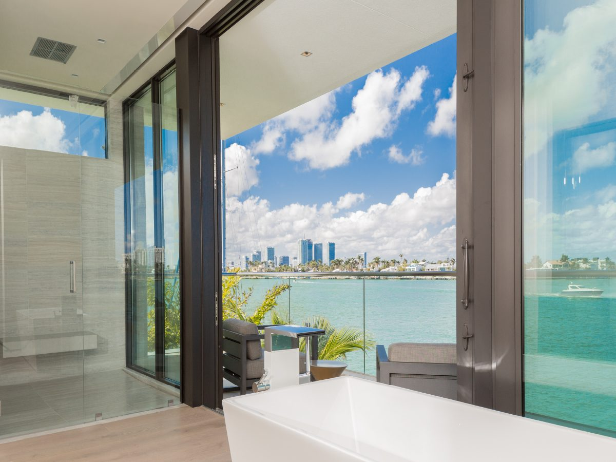 Hibiscus Island Miami residence view of ocean and city from deck