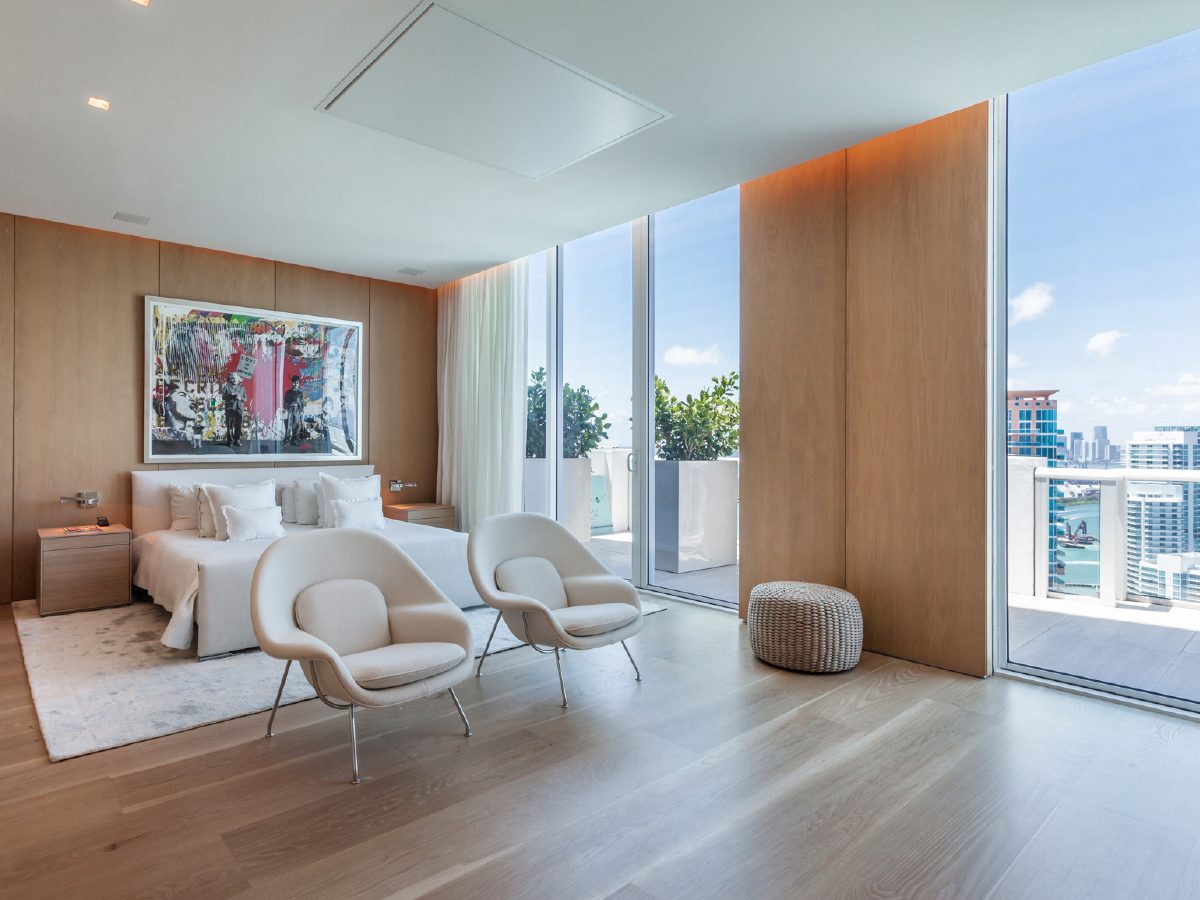 Continuum Miami Private PH Residence bedroom and city view