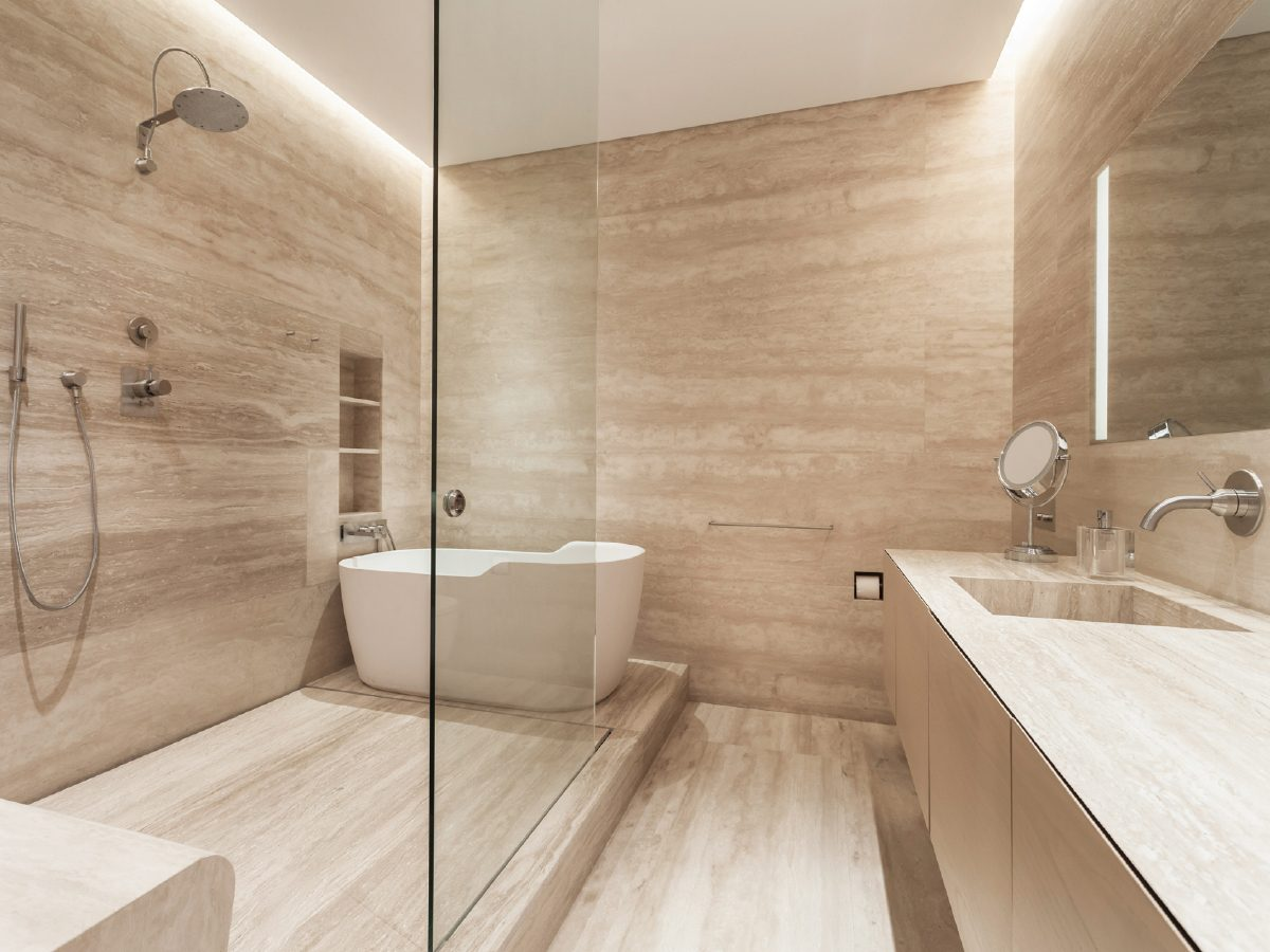 Continuum Miami Private PH Residence marble and glass bathroom