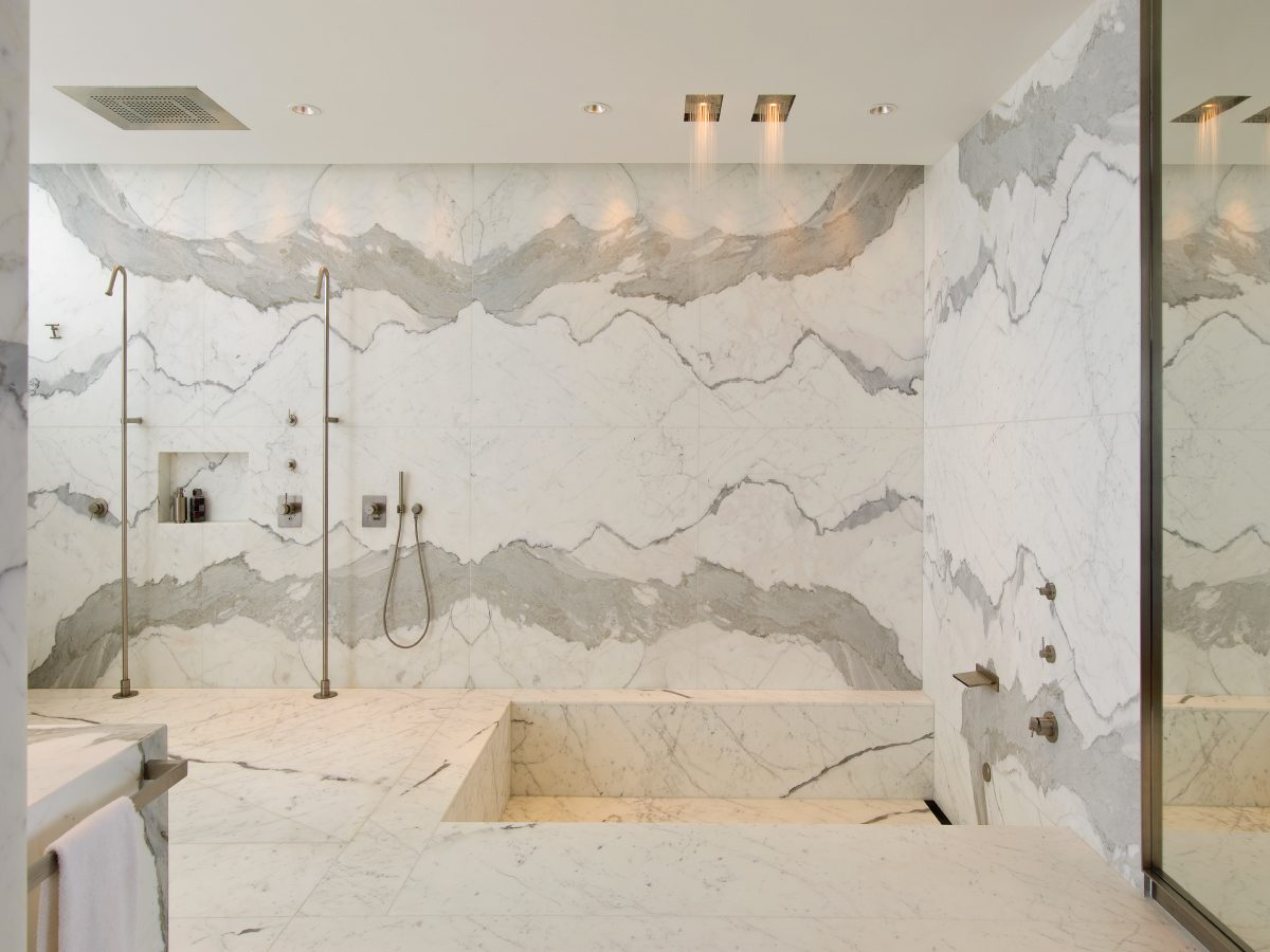 Apogee Miami residence white marble shower and tub
