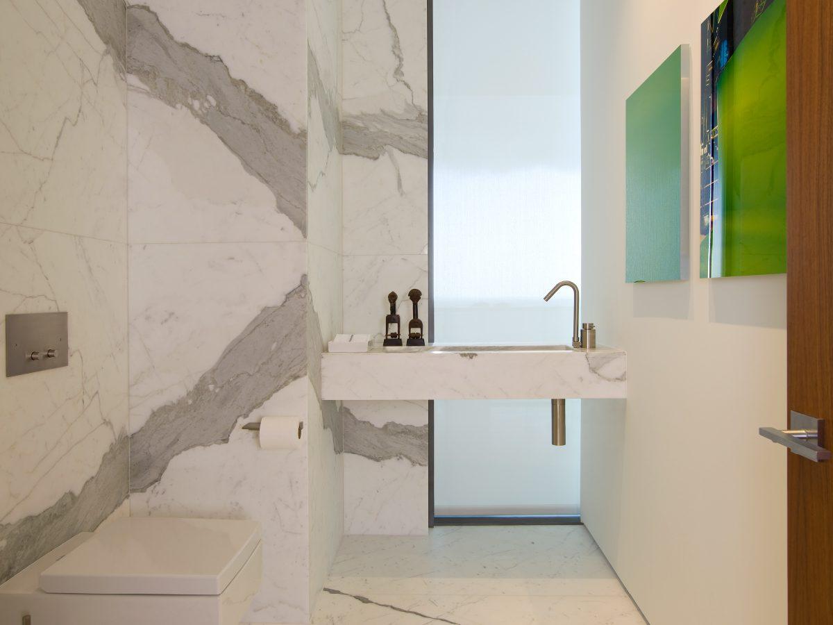 Apogee Miami residence white marble bathroom vanity