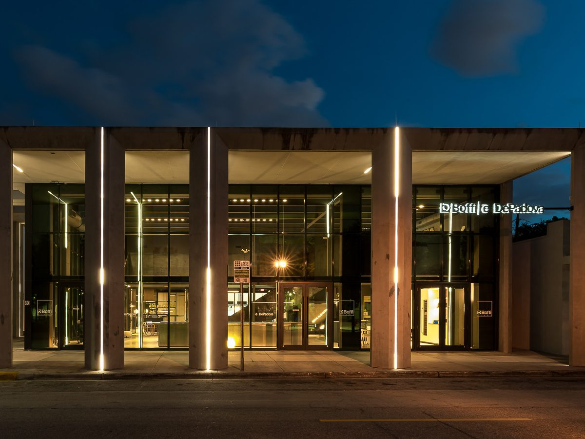 Exterior photo of the Boffi Showroom at night