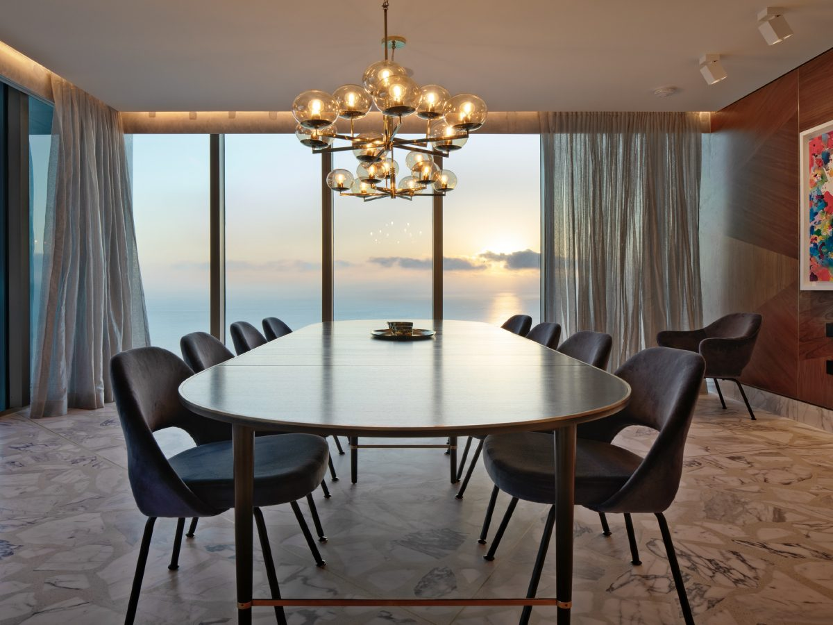 Carillon Miami residence dining room with ocean view