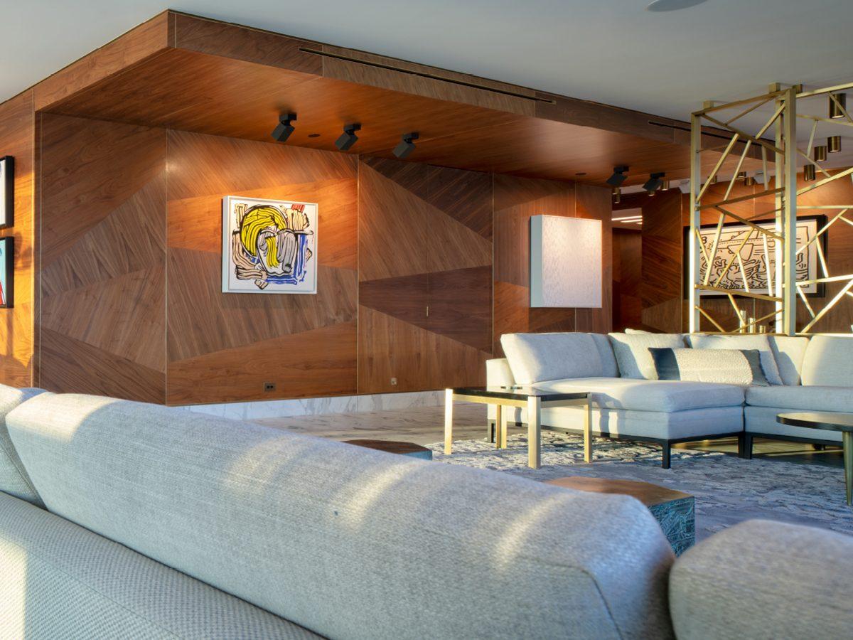Carillon Miami residence living room custom wood walls