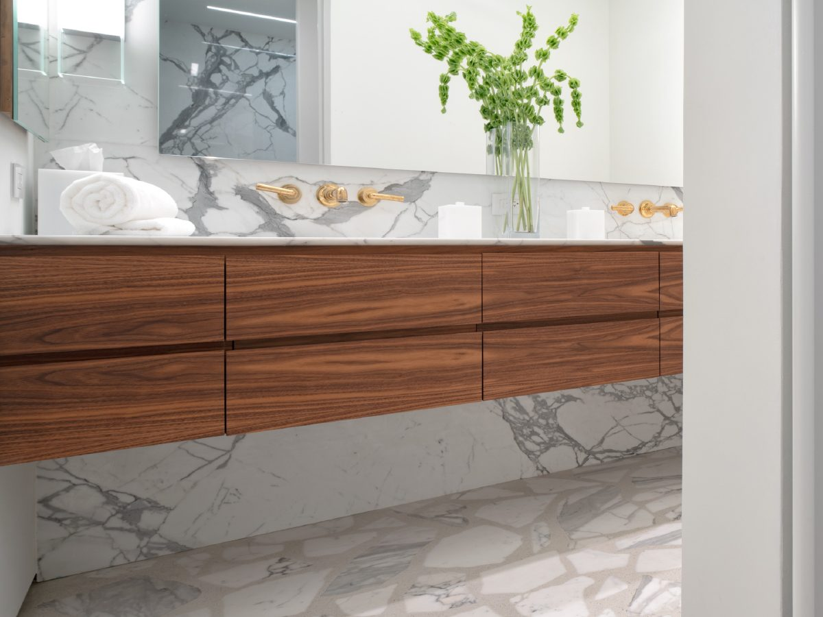 Carillon Miami residence wood and marble vanity close up