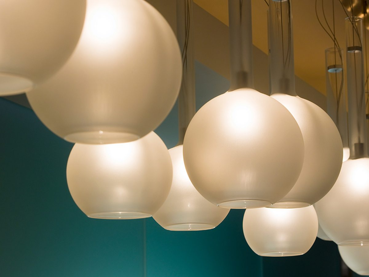 Continuum Miami residence white globe light cluster