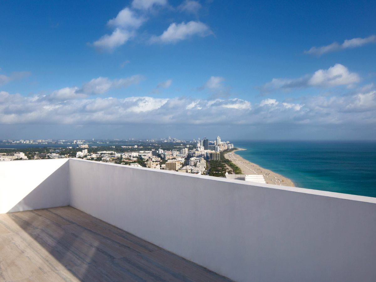 Continuum PH Miami residence view of Miami and ocean from patio