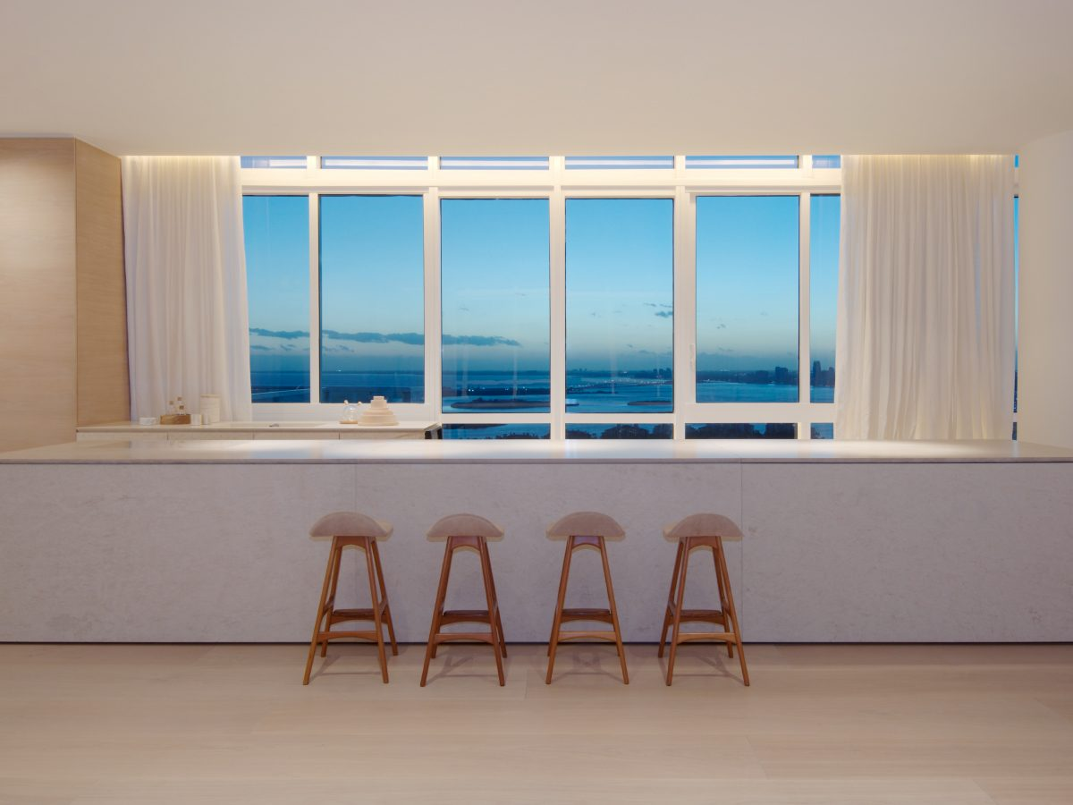 PtrBlt Continuum kitchen bar front with view of Miami