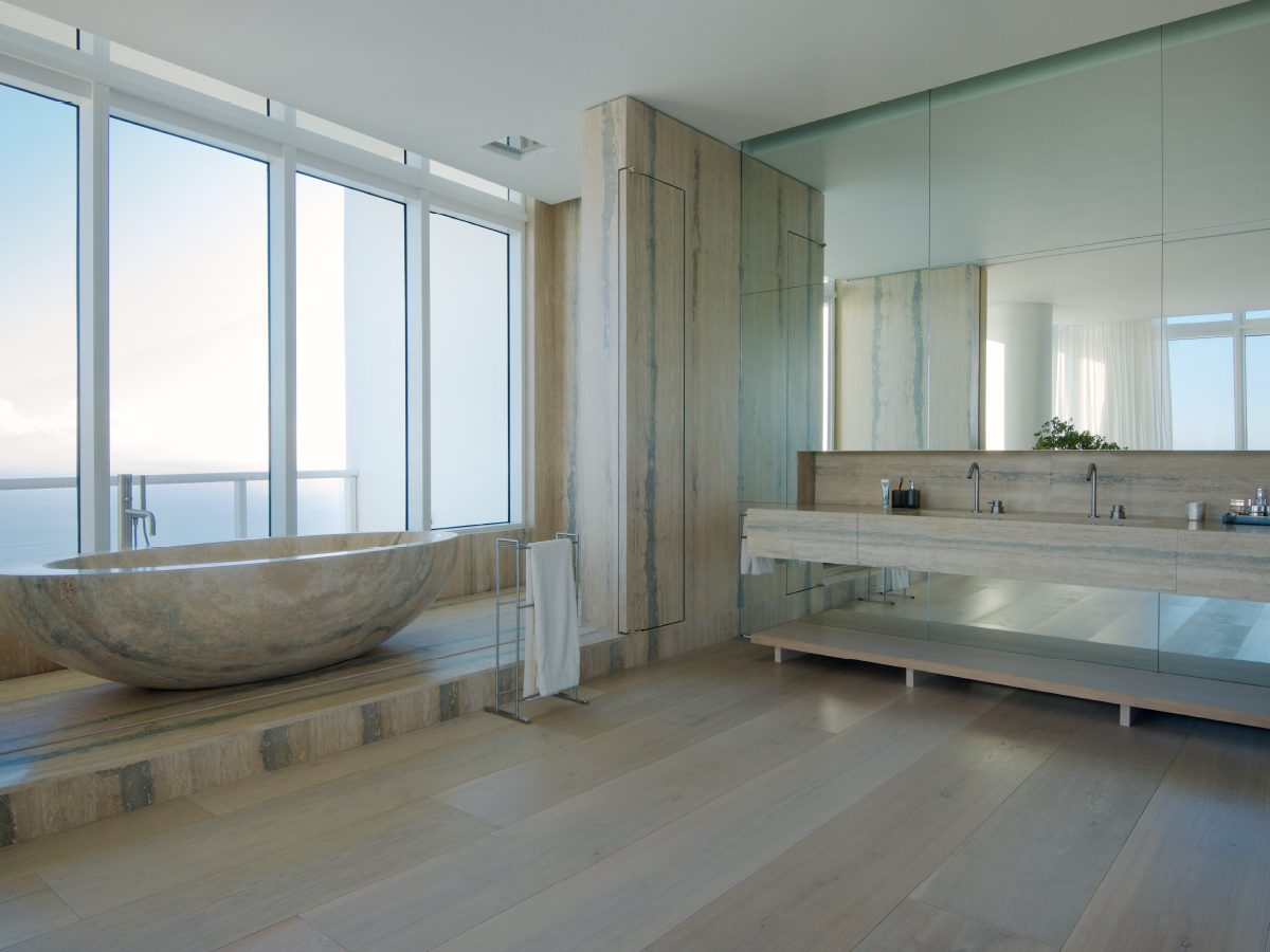 Continuum PH Miami residence marble bathtub with ocean view