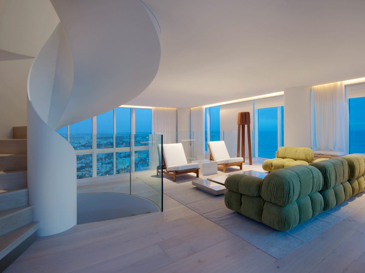 Continuum Miami residence living room with ocean view