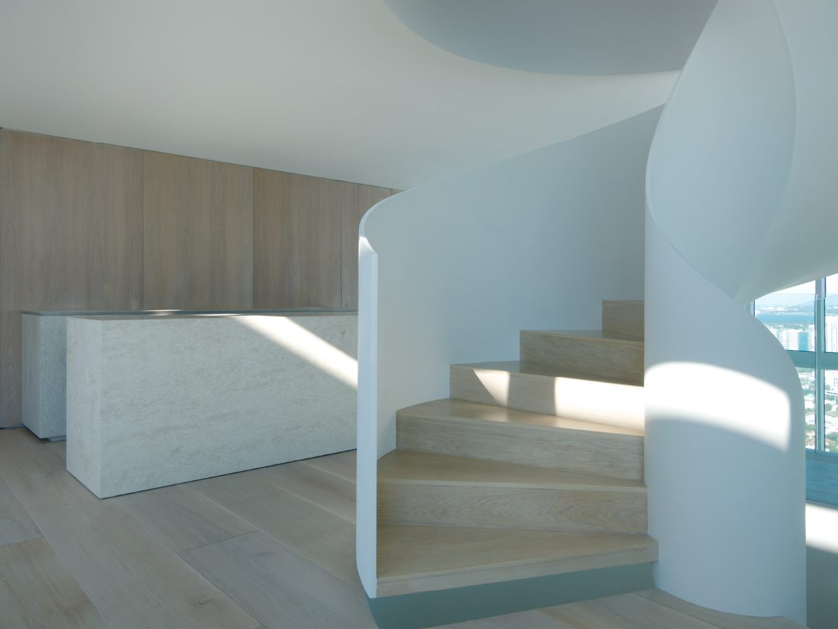 Continuum PH Miami residence spiral staircase view from penthouse